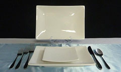 Triple T Party Rentals Ltd., Nanaimo - Dinnerware - Rectangle Plates - Cameo China